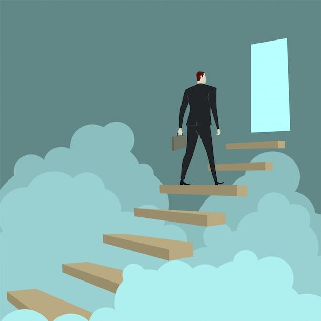 Homem negócios, escalando, escadas, acima, nuvem Vetor Premium