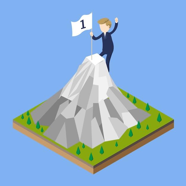 Homem negócios, escalando, montanha Vetor Premium