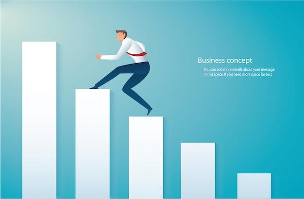 Homem negócios, executando, ligado, gráfico Vetor Premium