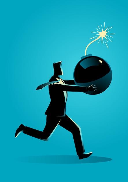 Homem negócios, executando, pânico, com, bomba, em, seu, mão Vetor Premium