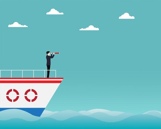 Homem negócios fica, ligado, bote, com, telescópio, em, mão Vetor Premium