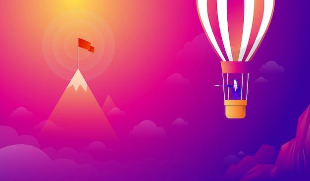 Homem negócios, ficar, balão Vetor Premium