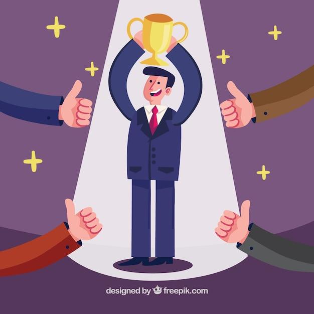 Homem negócios, levantamento, troféu Vetor grátis