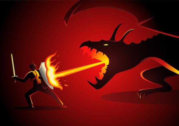 Homem negócios, luta um dragão Vetor Premium