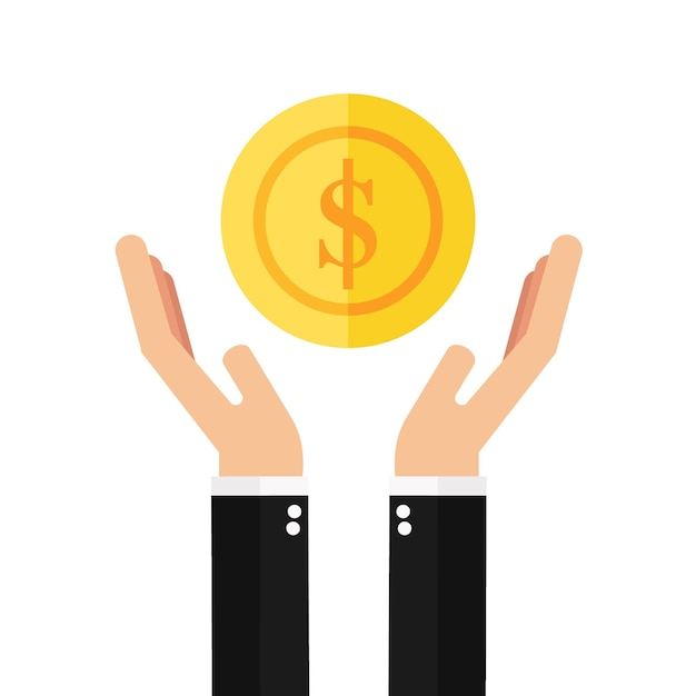 Homem negócios, mãos, segurando, moeda Vetor Premium