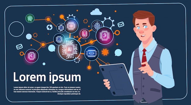 Homem negócios, segurando, apresentação, levantar, sobre, tela digital, com, gráficos, e, gráfico, infográficos, negócio Vetor Premium