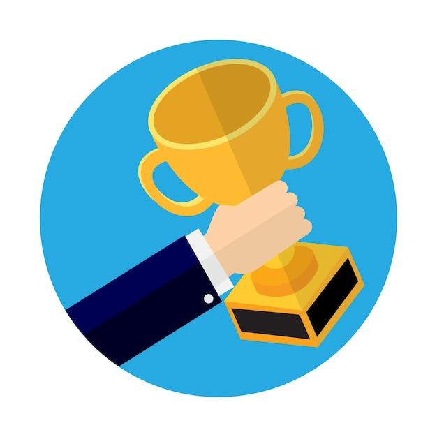 Homem negócios, segurando troféu, copo Vetor Premium