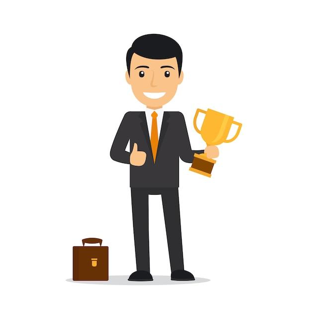 Homem negócios, segurando troféu Vetor Premium