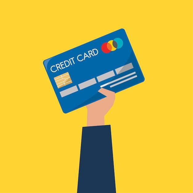 Homem negócios, segurando, um, cartão crédito Vetor grátis