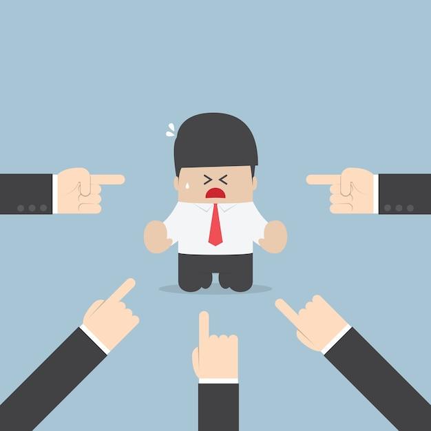 Homem negócios, sendo, pointed, por, muitos, mãos Vetor Premium