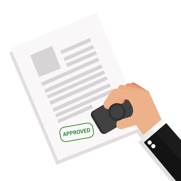 Homem negócios, stamping, notário, aprova um, documentos Vetor Premium