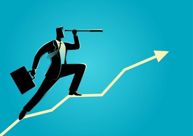 Homem negócios, usando, telescópio, ligado, gráfico, gráfico Vetor Premium