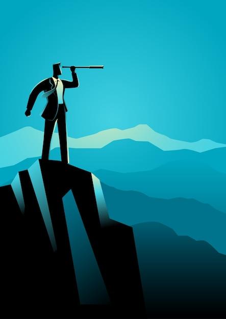 Homem negócios, usando, telescópio, topo, montanha Vetor Premium