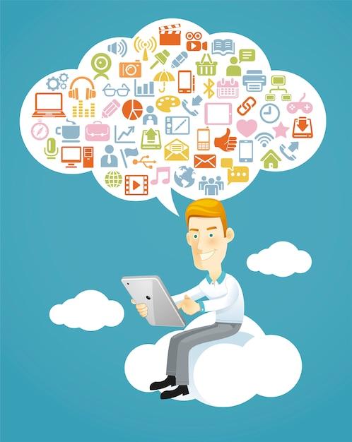 Homem negócios, usando, um, tablete, sentando, ligado, um, nuvem, com, mídia social Vetor Premium