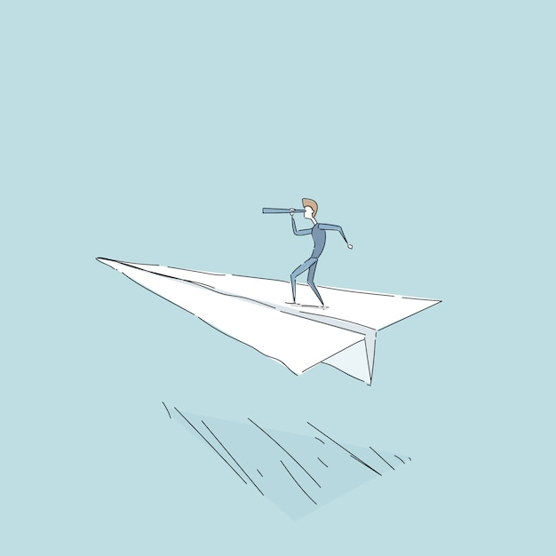 Homem negócios, voando, papel, avião, olhar, através, binocular, ligado, sucedido, futuro, crescimento, desenvolvimento, conceito Vetor Premium