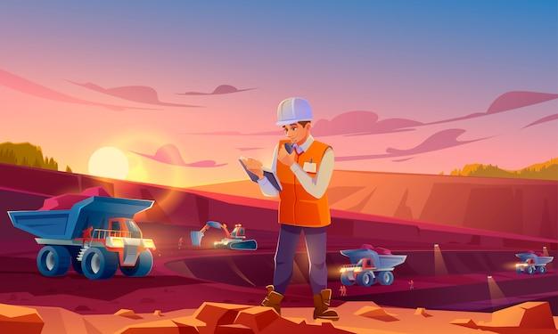 Homem no capacete trabalhando na pedreira de mineração Vetor grátis