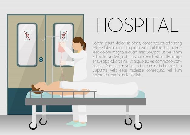 Homem no hospital na ilustração da bandeira de gotejamento. jovem dos desenhos animados, deitada na cama com infusor. Vetor Premium