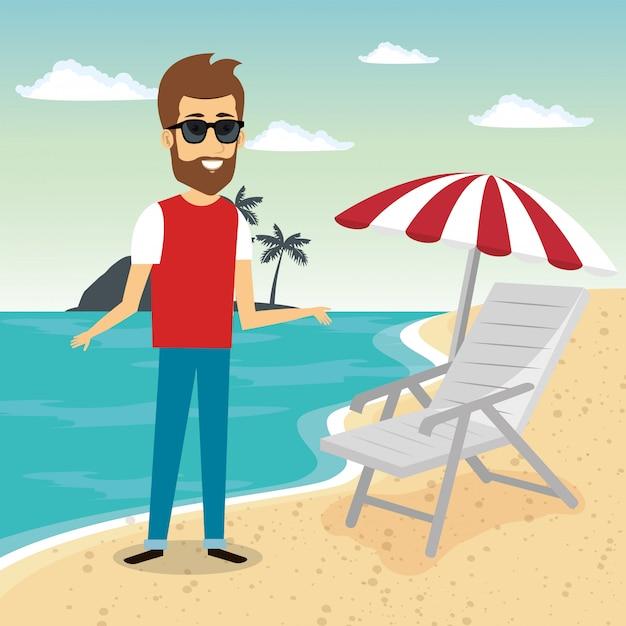 Homem no personagem de praia Vetor grátis