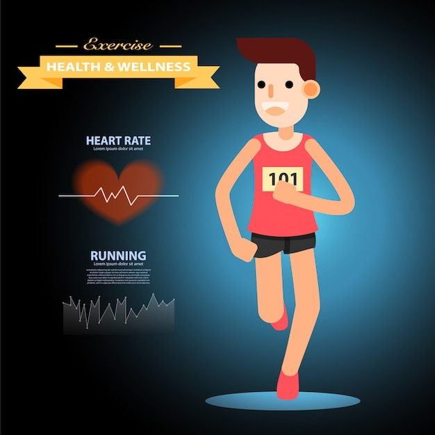 Homem novo que funciona e que treina para o esporte da maratona infographic. Vetor Premium