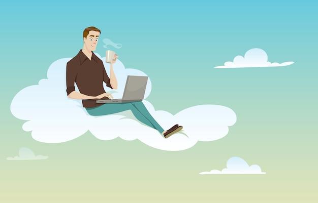 Homem novo que senta-se na nuvem usando seu computador no tempo ensolarado na ruptura de café. Vetor Premium