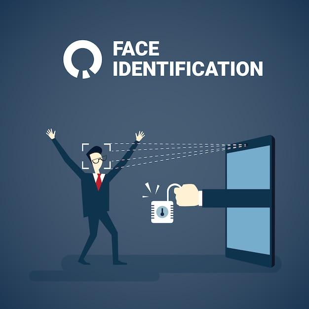 Homem, obtendo, acesso, após, rosto, identificação, varrendo, modernos, biometric, tecnologia, reconhecimento, sistema, conceito Vetor Premium