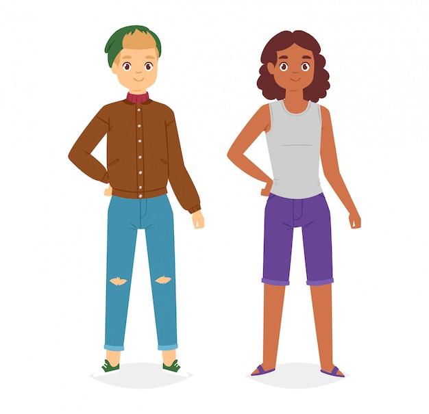 Homem olha moda personagem roupas vetor menino desenhos animados vestem roupas com calças ou sapatos da moda Vetor Premium