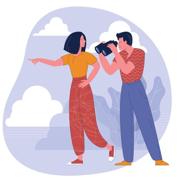 Homem olhando através de binóculos e uma mulher apontando na direção. Vetor Premium