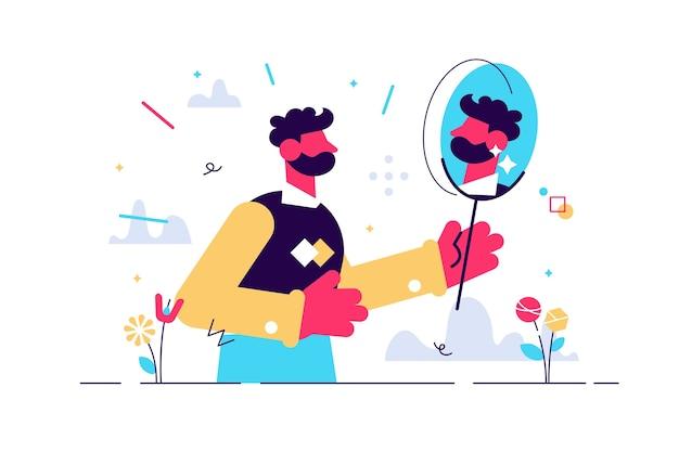 Homem olhando para seu reflexo no espelho. caráter humano em branco. Vetor Premium