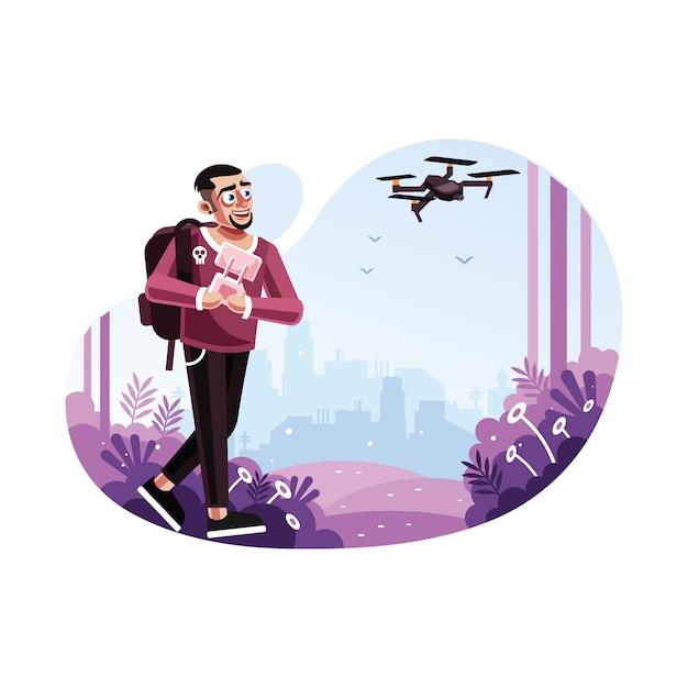 Homem, operando, um, drone, com, controle remoto Vetor Premium