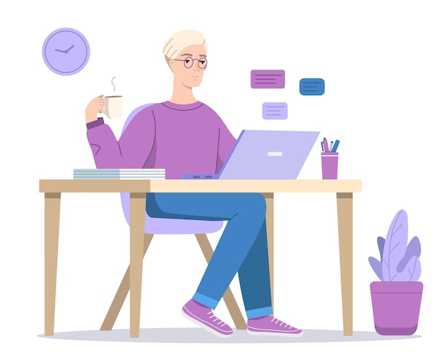 Homem ou menino, texting, em, computador, ilustração Vetor grátis