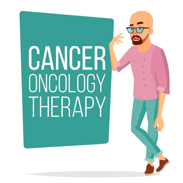 Homem paciente de quimioterapia Vetor Premium