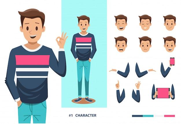 Homem, personagem, desenho Vetor Premium