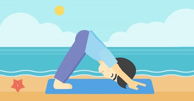 Homem praticando ioga ilustração vetorial. Vetor Premium