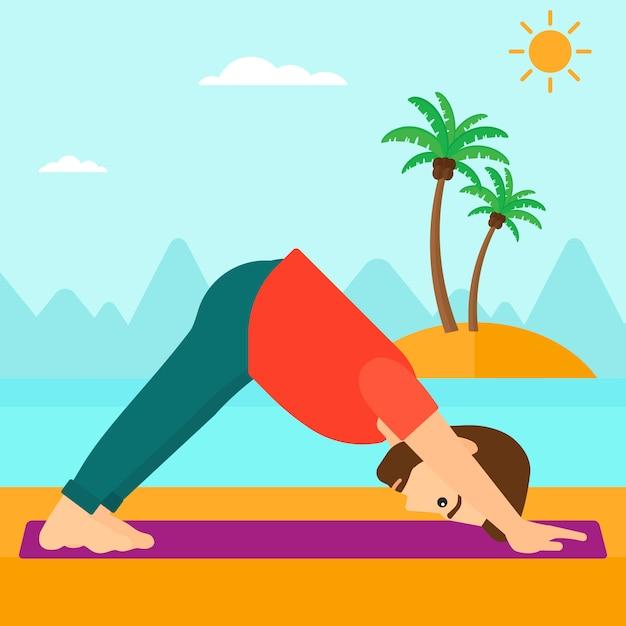 Homem praticando ioga. Vetor Premium