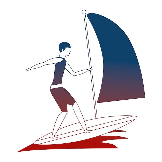 Homem praticando windsurf esporte no oceano Vetor Premium