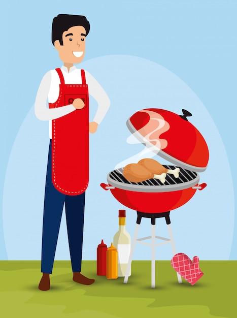 Homem preparando ilustração para churrasco Vetor grátis