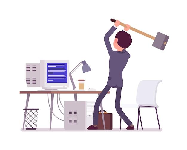 Homem prestes a falhar computador com tela azul da morte Vetor Premium
