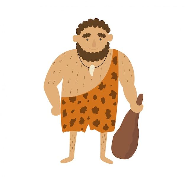 Homem primitivo da idade da pedra Vetor Premium