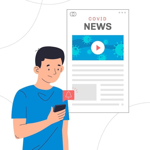 Homem procurando atualizações de coronavírus online Vetor grátis