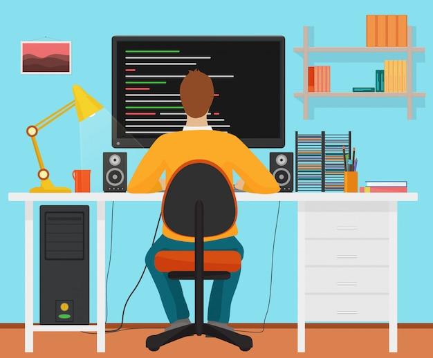 Homem, programador, vista traseira Vetor Premium
