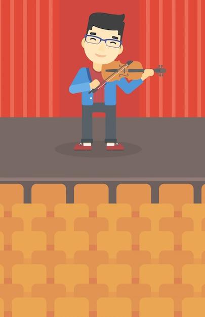 Homem que joga a ilustração do vetor do violino. Vetor Premium