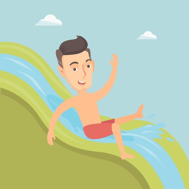 Homem que monta abaixo da ilustração do vetor do waterslide. Vetor Premium