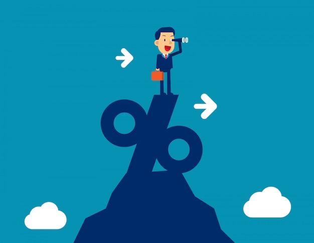 Homem que olha através do telescópio que está sobre o sinal de porcentagem. conceito de negócio de marketing ilustração vetorial, sucesso Vetor Premium