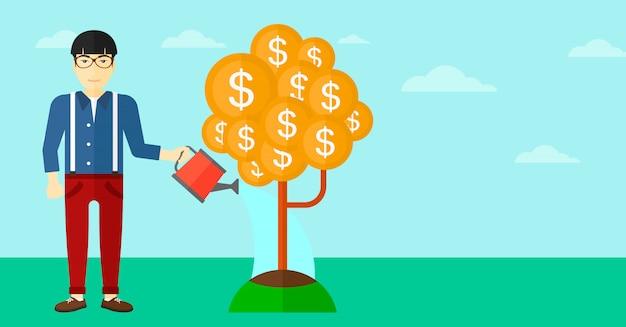 Homem que rega a árvore do dinheiro. Vetor Premium