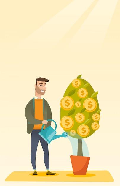 Homem que rega a árvore financeira. Vetor Premium