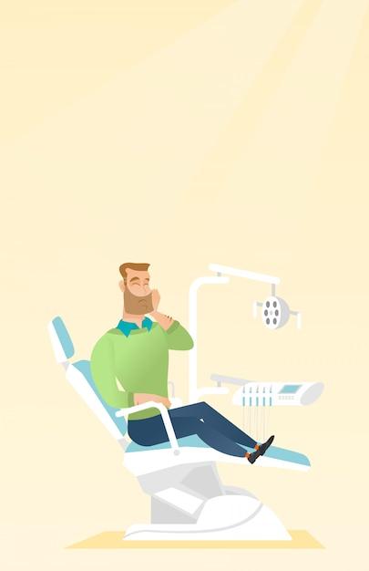 Homem que sofre de dor de dente. Vetor Premium