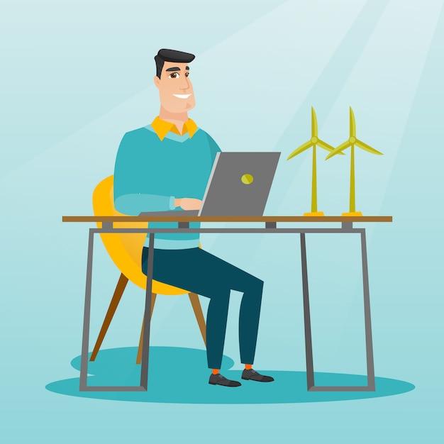 Homem que trabalha com modelo de turbinas eólicas. Vetor Premium