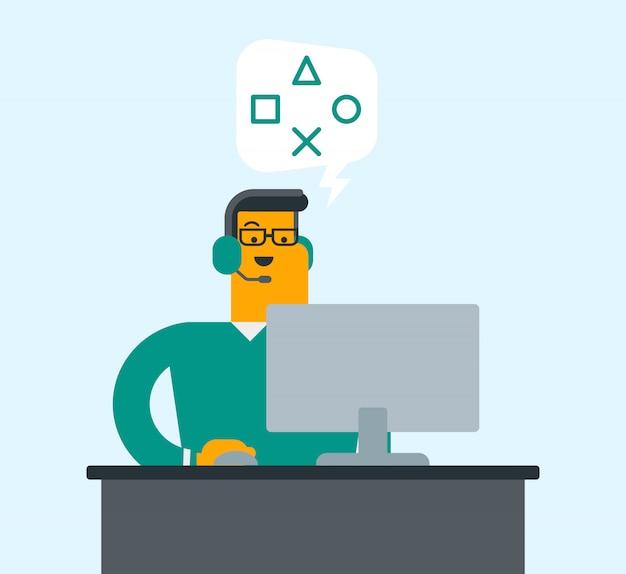 Homem que usa auriculares e computador no centro de atendimento. Vetor Premium