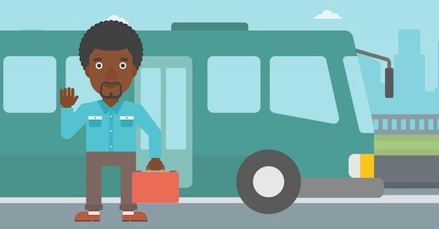 Homem que viaja pela ilustração do vetor do ônibus. Vetor Premium