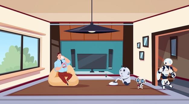 Homem, relaxante, em, sala de estar, enquanto, grupo, de, robots, housekeepers, limpo, casa Vetor Premium